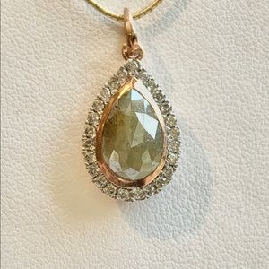 Jewelry - Bezel Set Natural Diamond and Halo Pendant